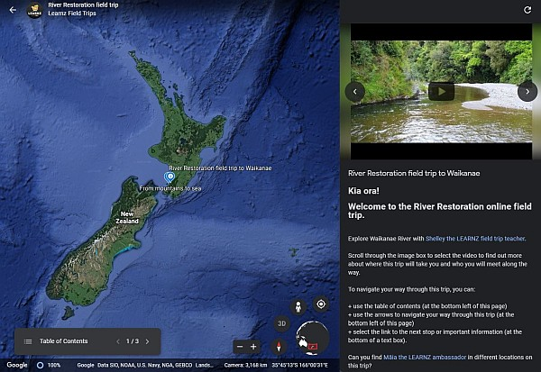 LEARNZ River Restoration on Google Earth.