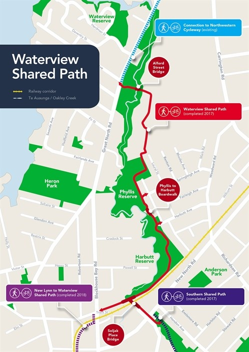 Map of Waterview Shared Path