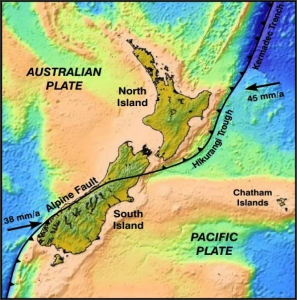 The Hikurangi Trough marks the boundary between the Australian and subducting Pacific Plate. Image: CIRES