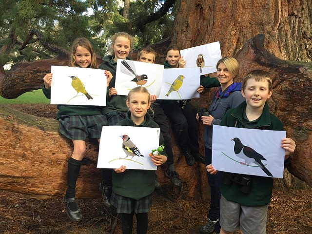 Students take part in the annual Garden Bird Survey.